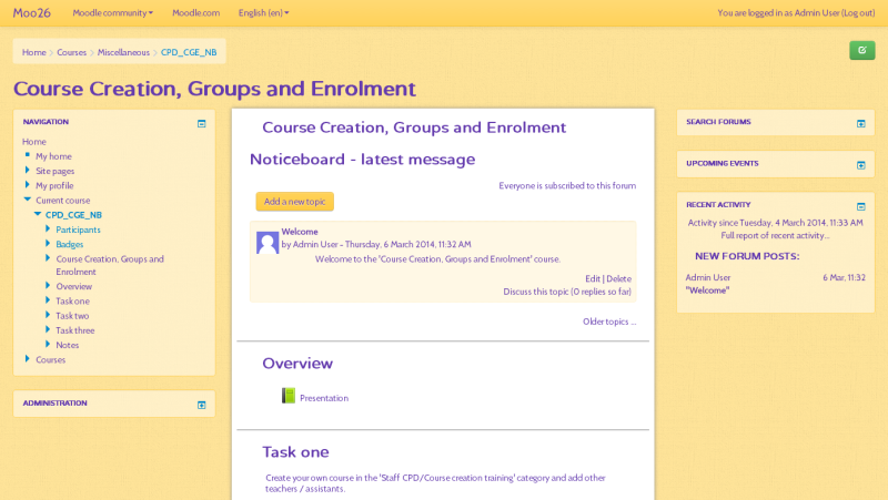 Noticeboard Moodle course format